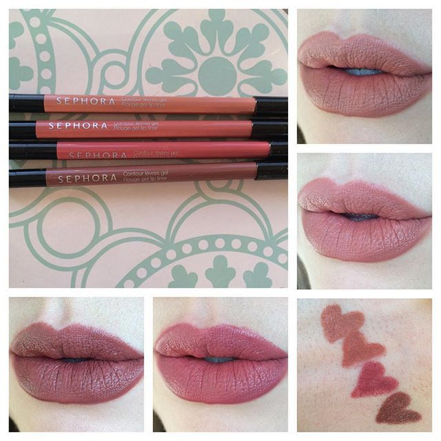 a41eb26ecee Swatches of the new Sephora Rouge Gel Lip Liners in better lighting! Lip  swatches clockwise from top right: Nothin' But Nude, Creme de la Creme,  Rose Wine, ...