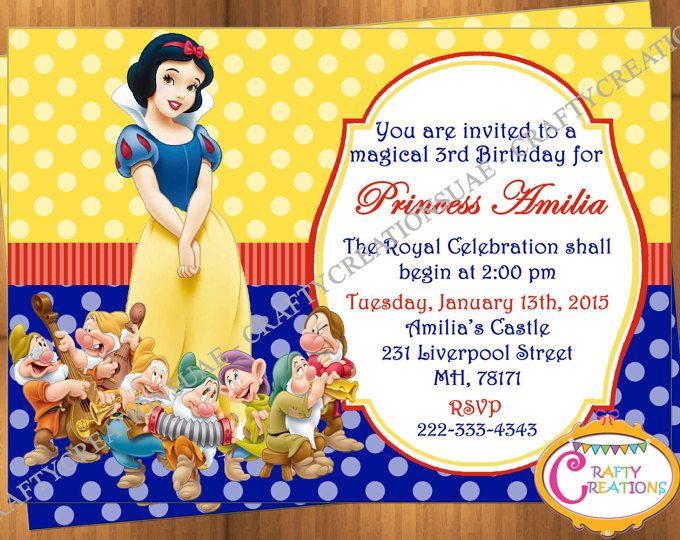 snow white birthday invitation snow white birthday princess kid invitation printable