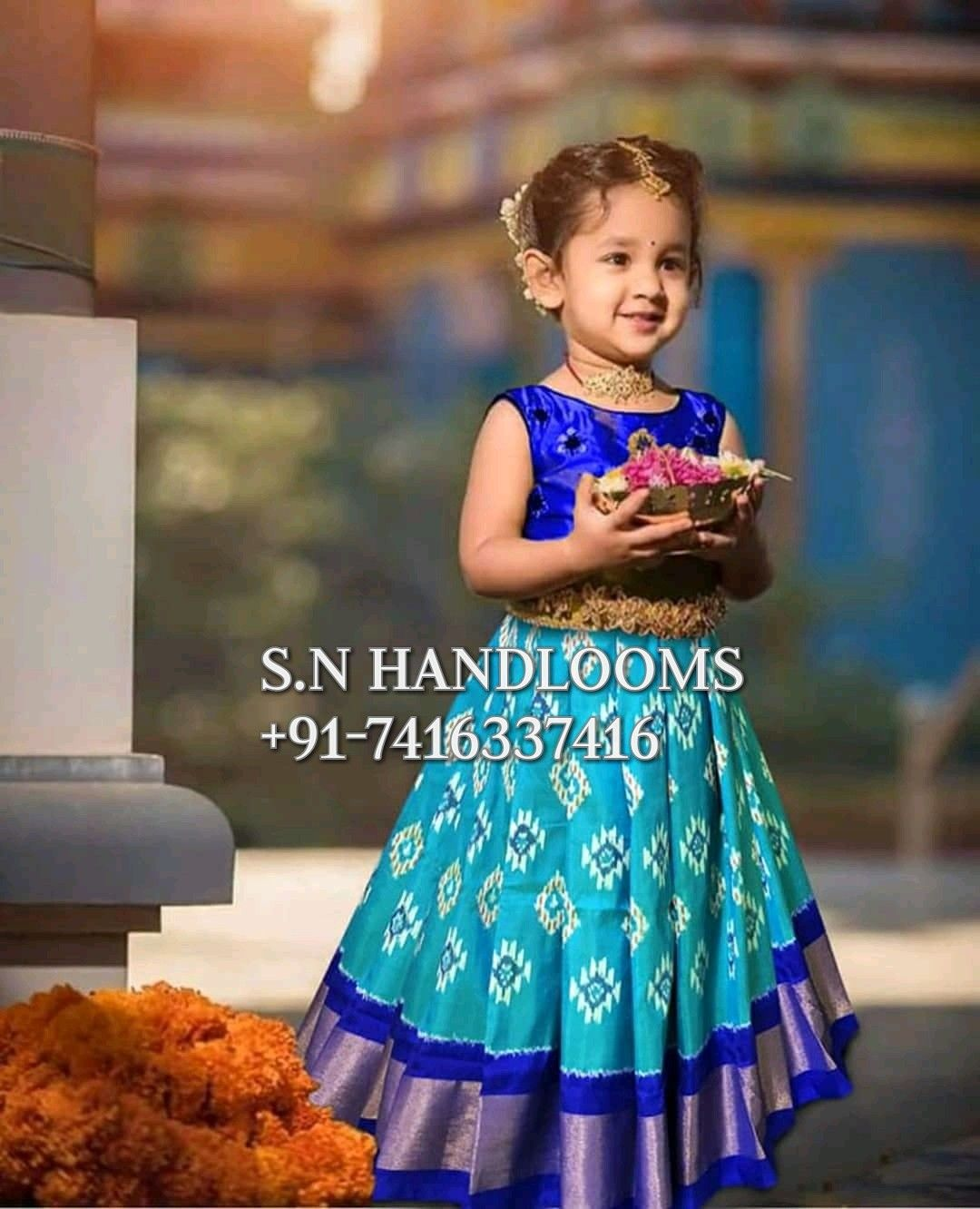 cd05929df7b New arrival of ikkat lehengas for one kids up to 3 years For more details  please contact me in WhatsApp at +91-7416337416