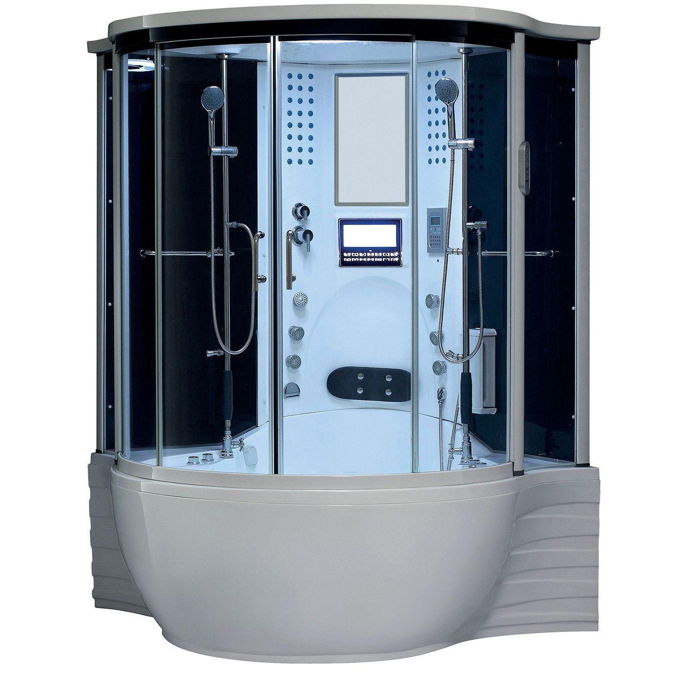 Maya Bath Florence Acrylic/Glass/Stainless Steel Steam Shower Sauna With  Whirlpool Massage Bathtub