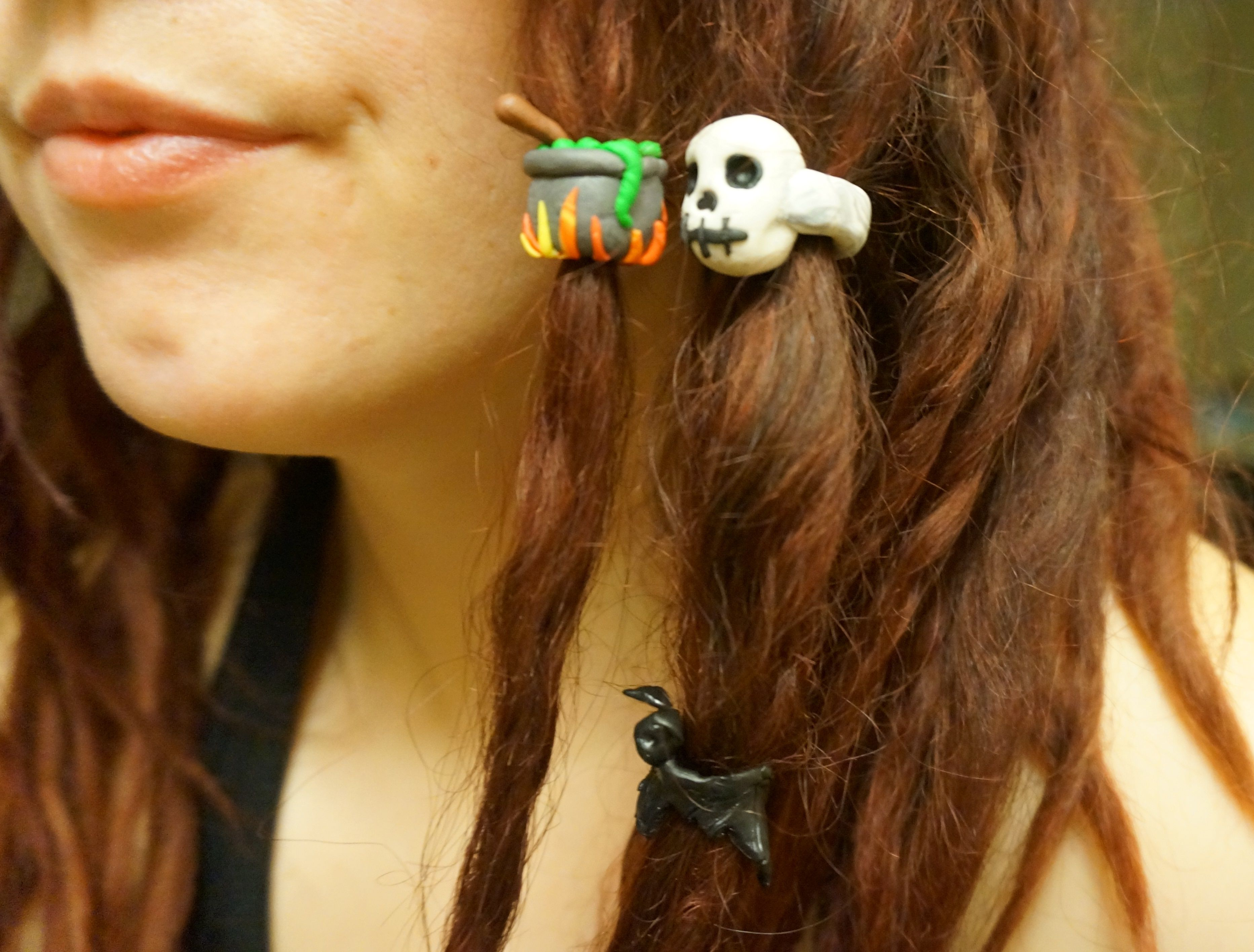 fimo clay dread beads witch's cauldron skull and bat  #skull #dreads #dreadlocks #witch #halloween