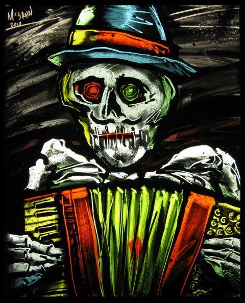skull accordion Peter McGrain vitri-fusaille glass