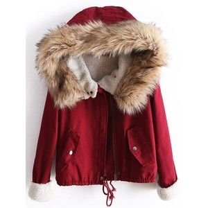 Red Fur Hooded Long Sleeve Drawstring Coat | ПОЛЕЗНЫЕ СОВЕТЫ ...