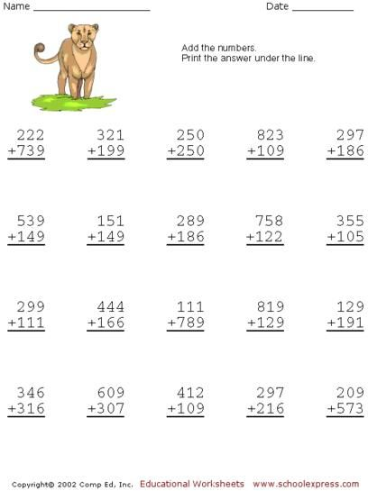 Free Addition Worksheets, 3 Digits With Carrying | matematica-1-2 ...