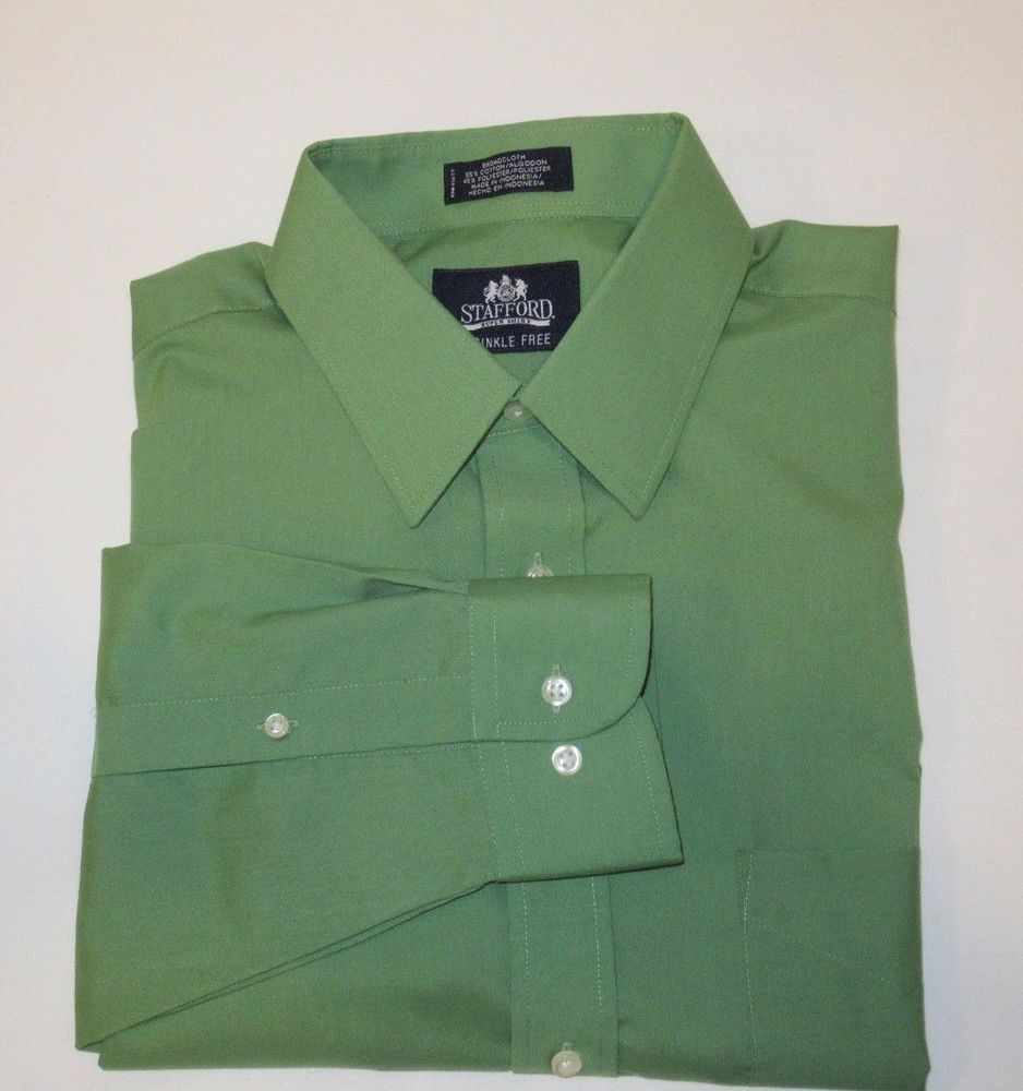Mens Sz 16 12 32 33 Stafford Broadcloth Green Super Shirt Wrinkle