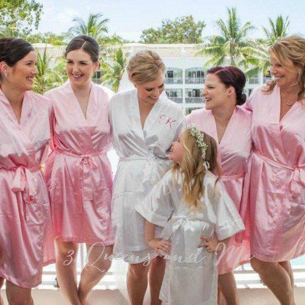 Plain coloured satin bridal party robes | Wedding | Pinterest ...