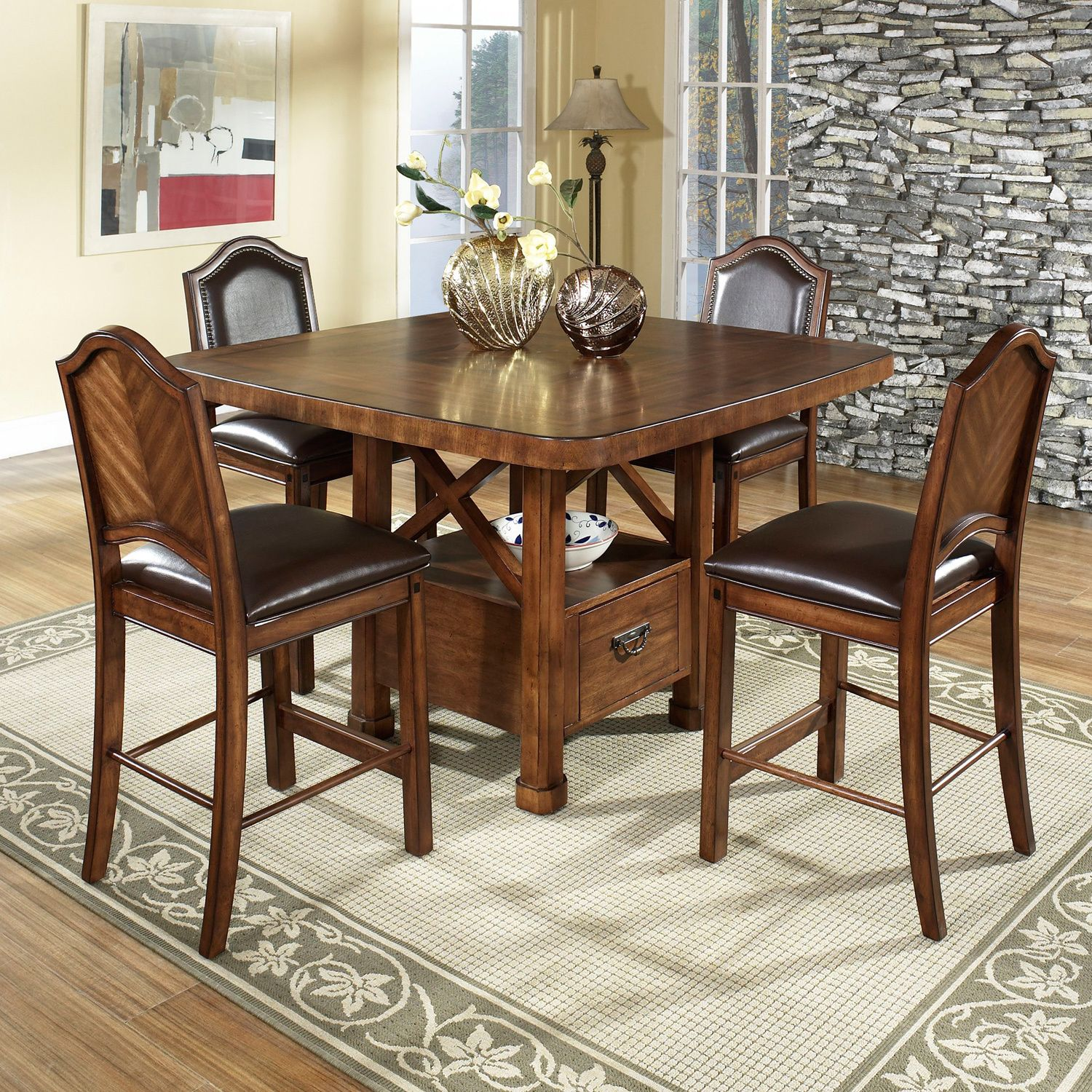 Barrington Wood Counter Height Dining Table u0026