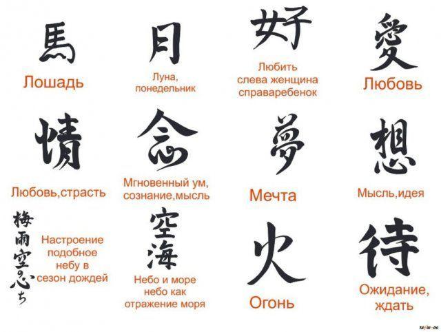 иероглифы тату значение фото и значение