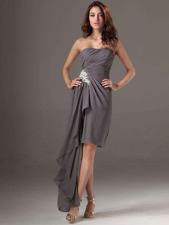 Grey Junior Bridesmaid High Low Dress