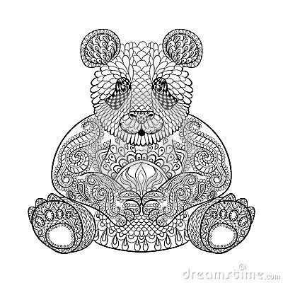 410af2b40af13 Hand drawn tribal Panda, animal totem for adult Coloring Page ...
