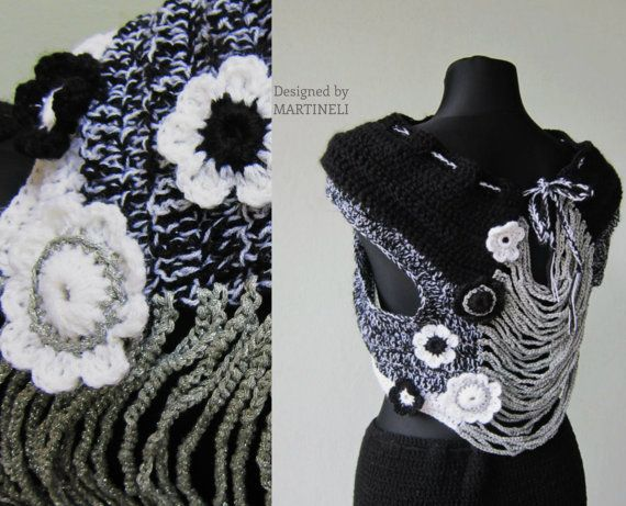 Black and white Crochet Shawl, Crochet Bolero Jacket, Freeform ...