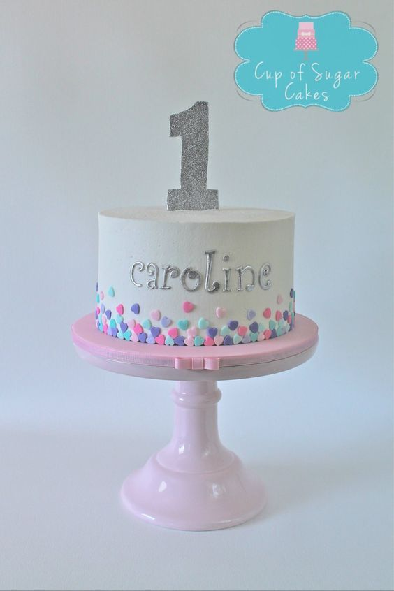 First Birthday Cake For A Girl Buttercream With Fondant Hearts Cup