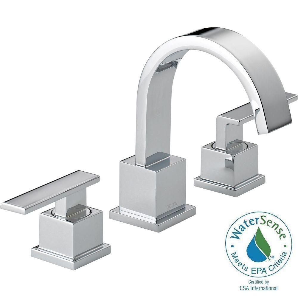 Delta Vero 8 in. Widespread 2-Handle High-Arc Bathroom Faucet in ...
