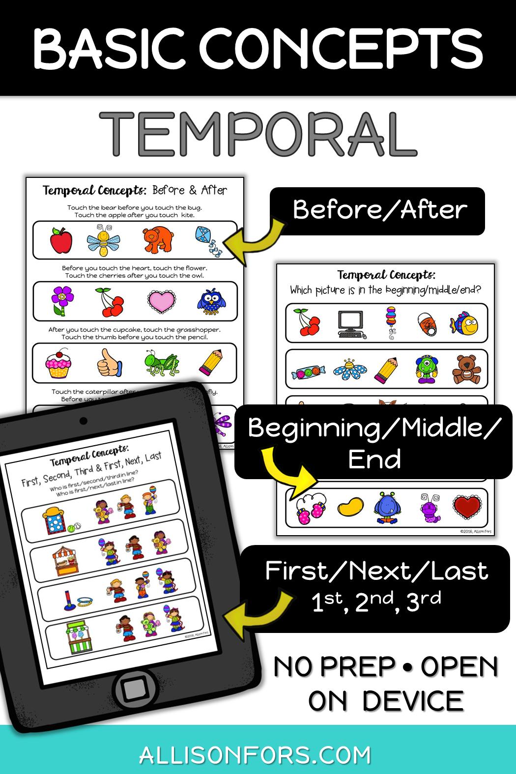 Basic Concepts Temporal Concepts No Prep Allison Fors Basic Concepts Speech Therapy Speech Therapy Activities Basic Concepts [ 1575 x 1050 Pixel ]