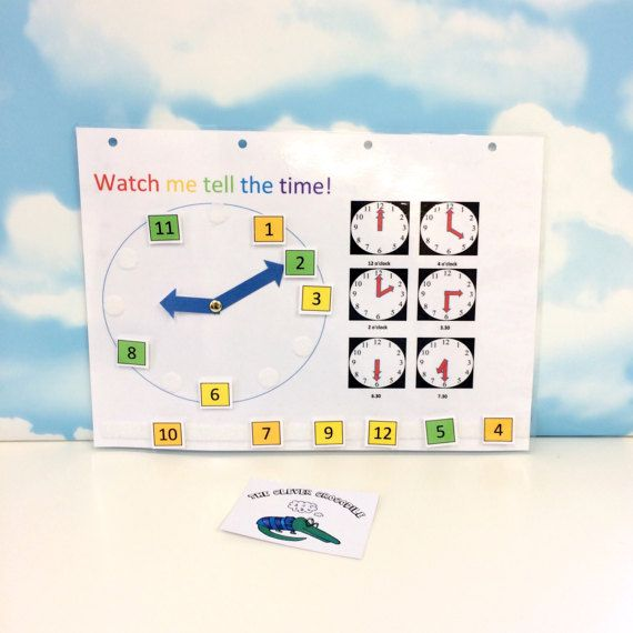 Moving clock numbers tell the time velcro by TheCleverCrocodile - time clock spreadsheet