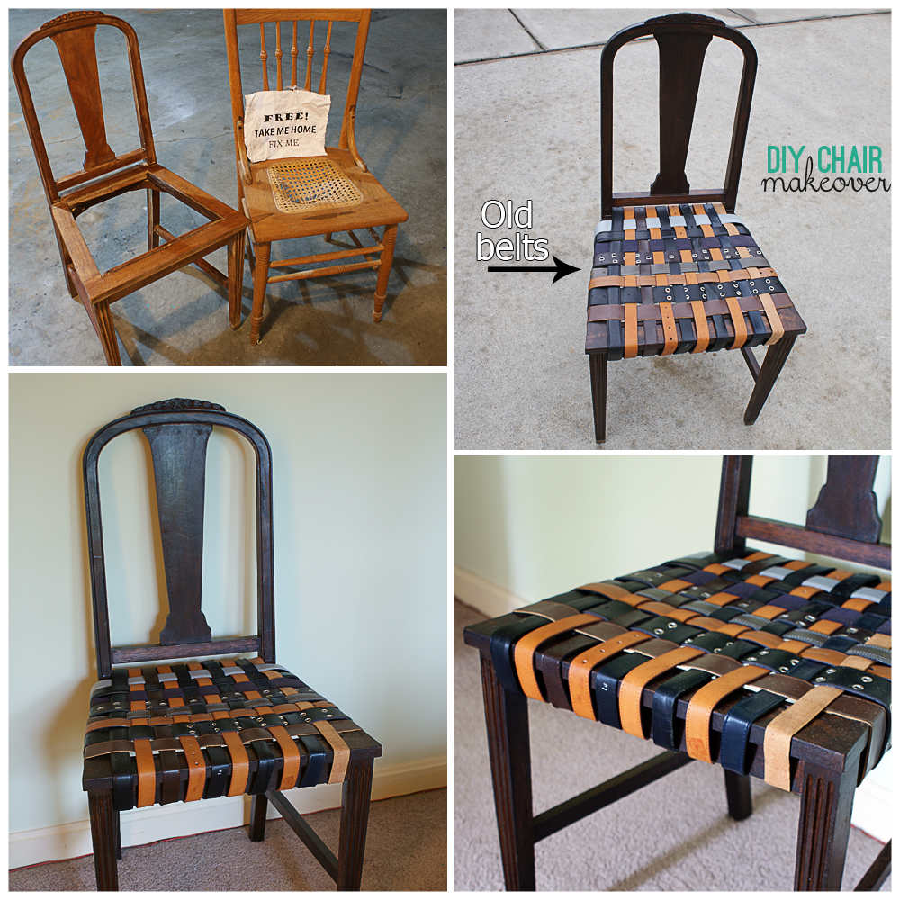 reuse old belts for a chair makeover at savedbyloves. Black Bedroom Furniture Sets. Home Design Ideas