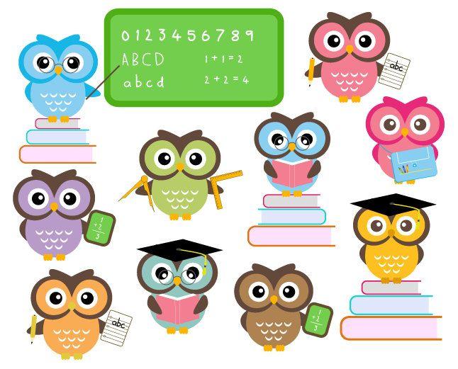 BUY 2 GET 2 FREE - Cute Owls At School - Classroom Education Clip ...