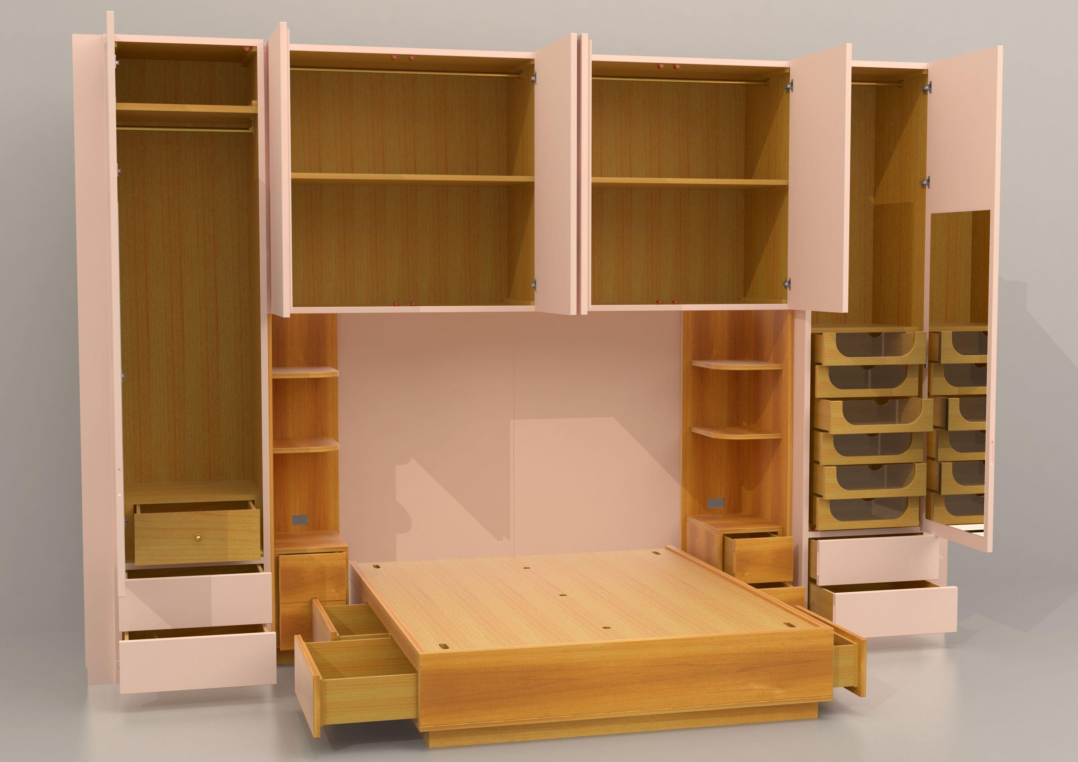 Progetto per una camera matrimoniale con armadio a ponte | Progetti ...