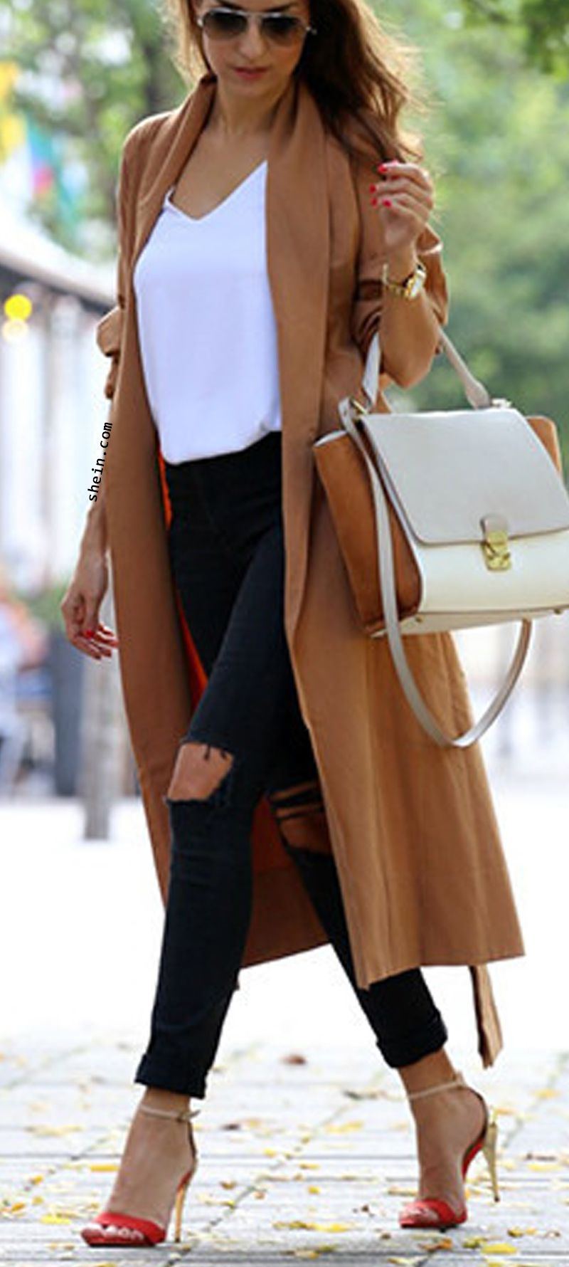 Stylish fall fashionBrown trench coat outfit. Fall