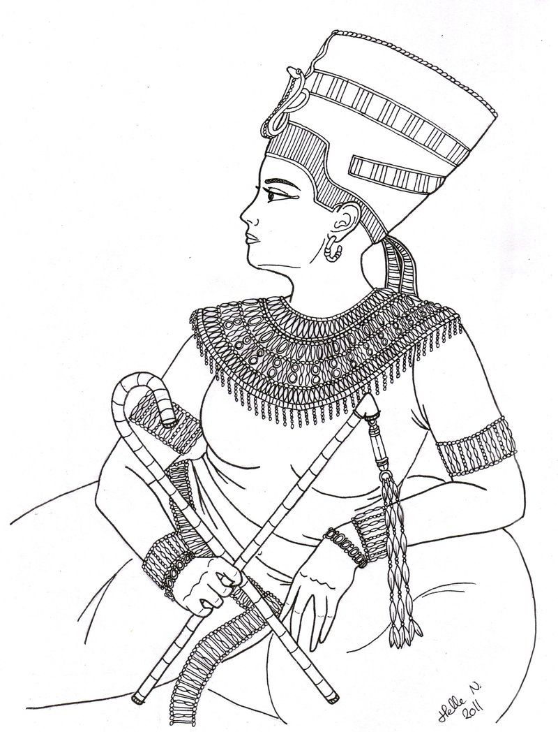 Nefertiti Portrait Boyama Kitaplari Desenler Sanat