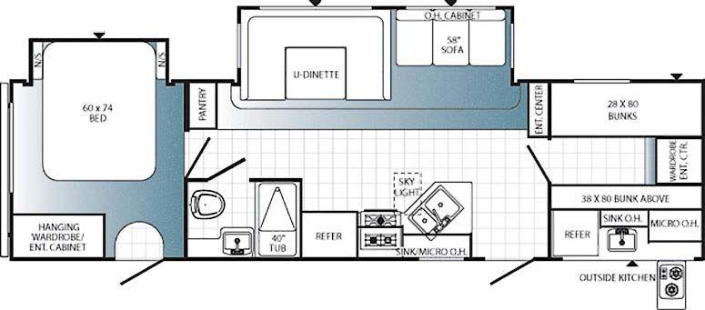 Travel Trailer Bunk House 30kfb 18 999 Travel Trailer Floor Plans Bunkhouse Travel Trailer Rv Floor Plans