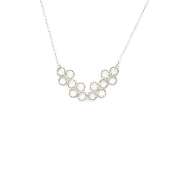 Circle cluster necklace - Sterling silver pendant necklace - Bubble - Circles pendant