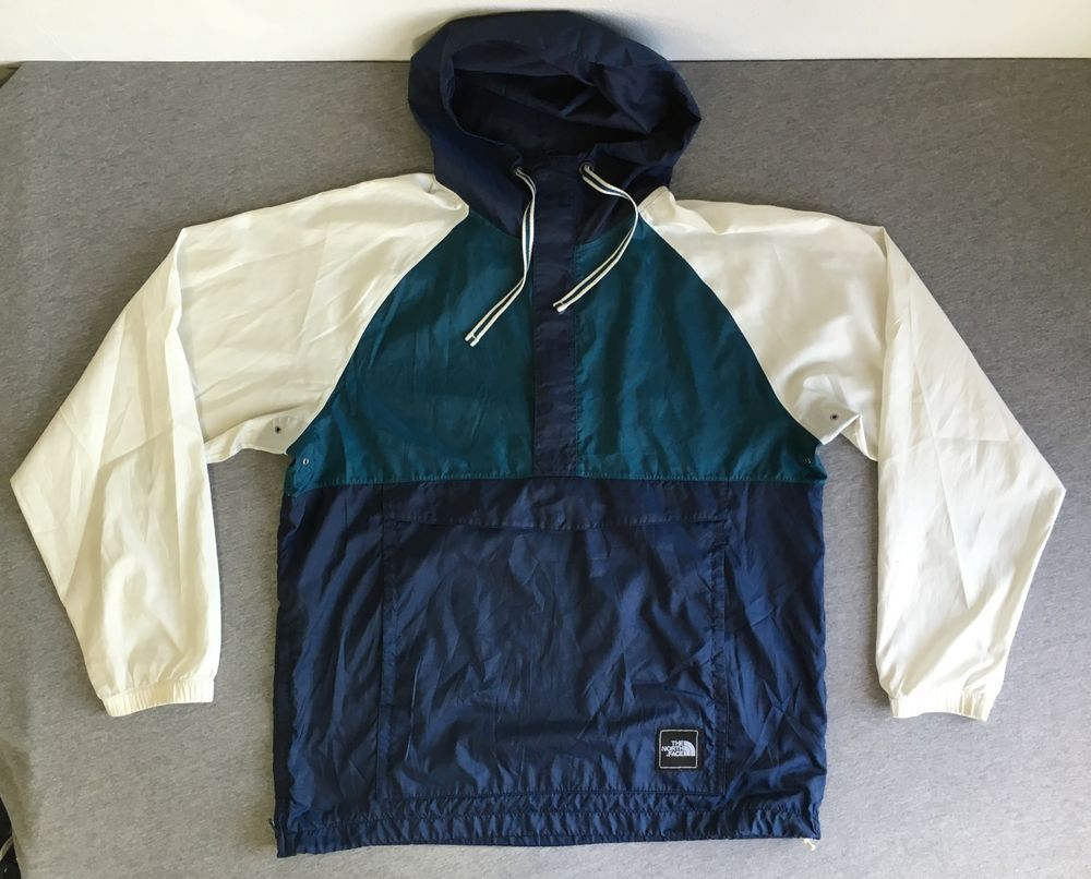NORTH FACE Jacket Windbreaker Color Block Hooded Pullover 1/2 Zip ...