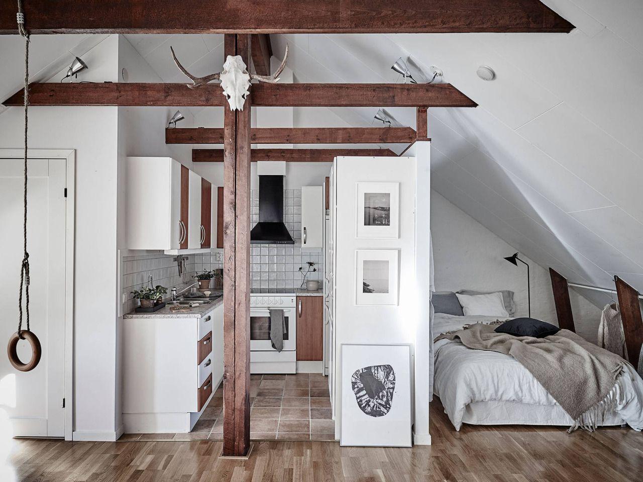 Attic Studio Apartment Photos By Jonas Berg Follow Gravity Home Blog Instagram Pinterest Facebook Apartment Design Attic Apartment Stylish Apartment