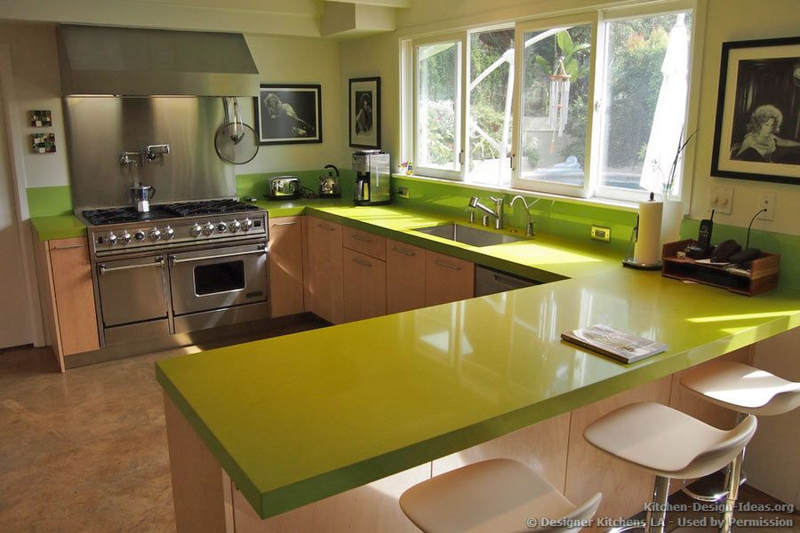 Green quartz countertop pro range hood designer kitchens la 07 - Kitchen countertops design ...