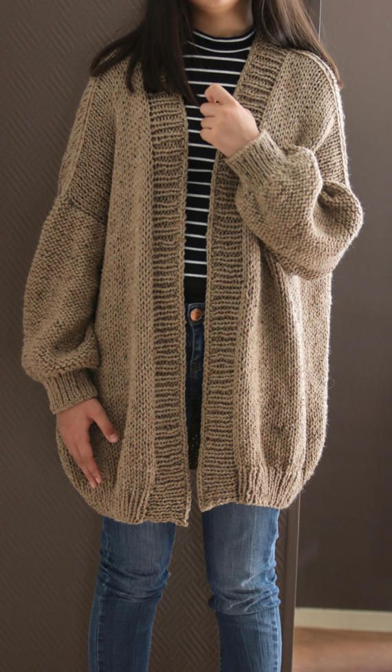 SWEATER WOMEN KNITTED Pullover Brown Loose Oversized Long Sleeves Chunky Bulky