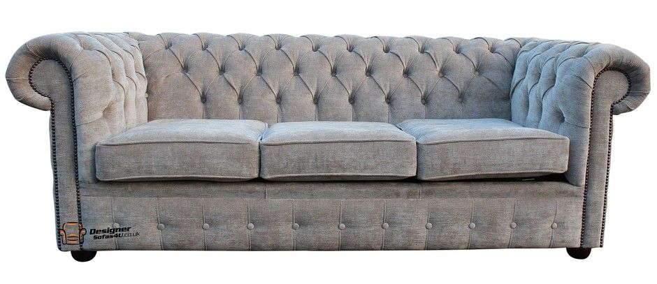 Chesterfield 3 Seater Settee Sofa Bed Ritz Mink Fabric designersofas4u Ideas - Style Of fabric chesterfield sofa Simple Elegant