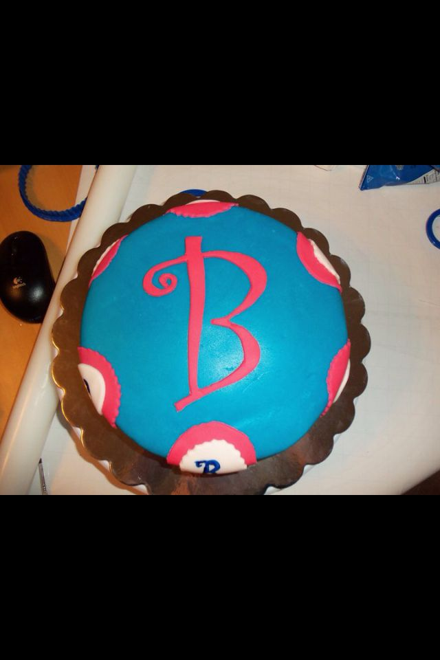 birthday cake with the letter b