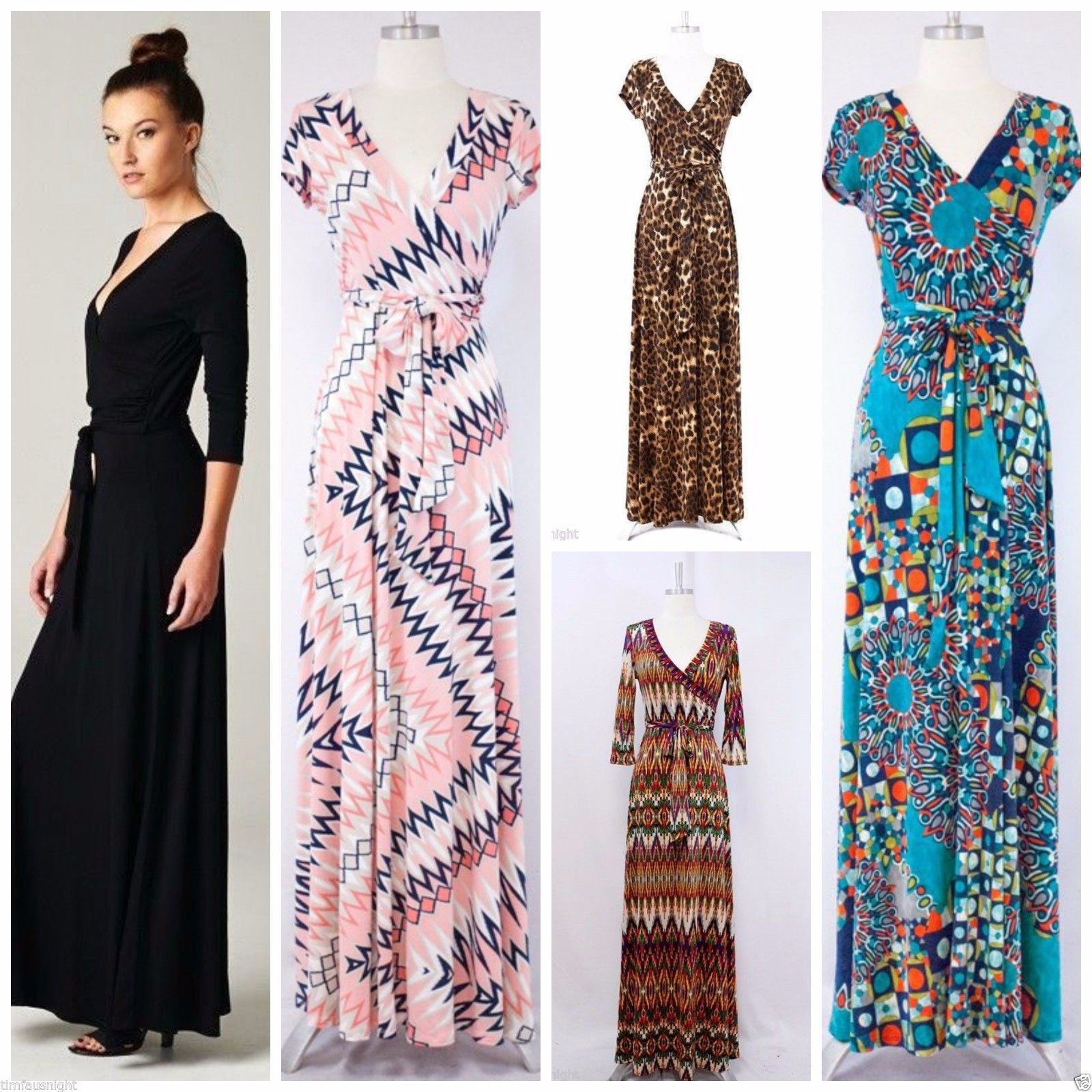 Long Or Short Sleeve Maxi Wrap Dress 70 S Solid Printed Janette L A Made 89 Dresses 70s Dress Boho Chic Outfits [ 1600 x 1600 Pixel ]
