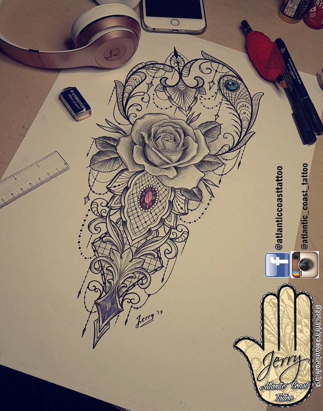 Beautiful Rose Tattoo Idea Design For A Thigh Arm By Dzeraldas Jerry Kudrevicius From Atlantic Coast Tattoo Mandala Lotus Leg Tattoos Cuff Tattoo Hip Tattoo