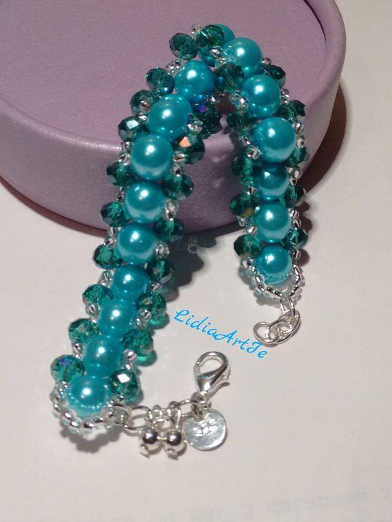 81bfb1b3a948 Azul brazalete de perlas con cristales checos pulsera de | Collares ...