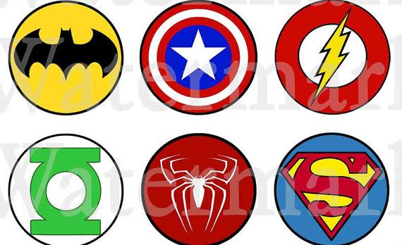 Personalised Circle Superheroes Birthday Party Thank You Sticker Labels 17