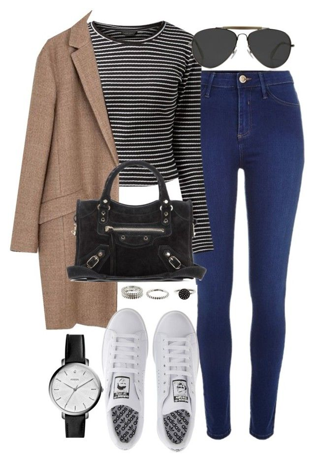 """""""Sin título #3534"""" by beel94 ❤ liked on Polyvore featuring River Island, Zara, adidas, CÉLINE, Balenciaga and FOSSIL"""
