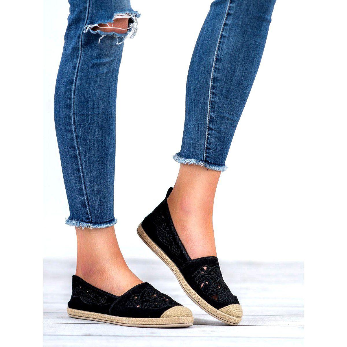 Zamszowe Espadryle Vices Czarne Flat Espadrille Espadrilles Shoes