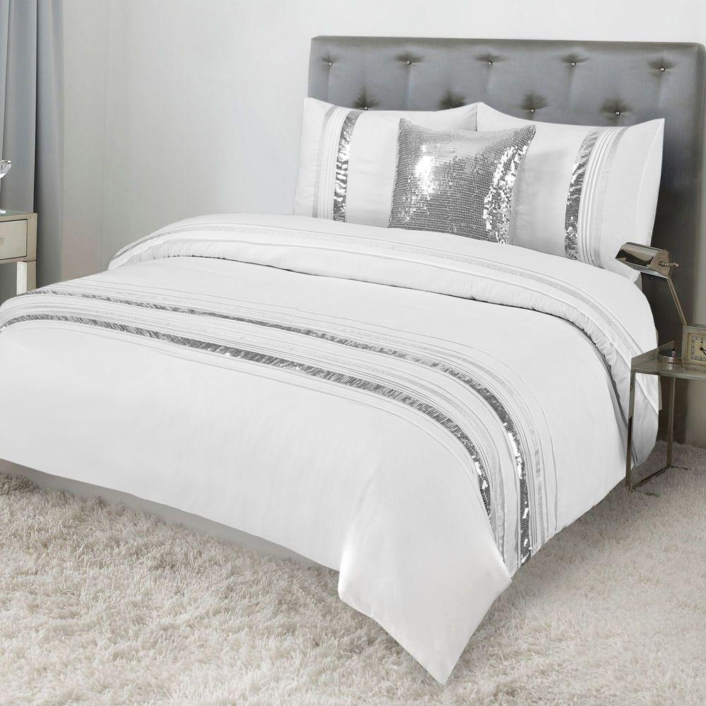 Tudisco Duvet Cover 4pcs Set White Silver Sequins Linings Double