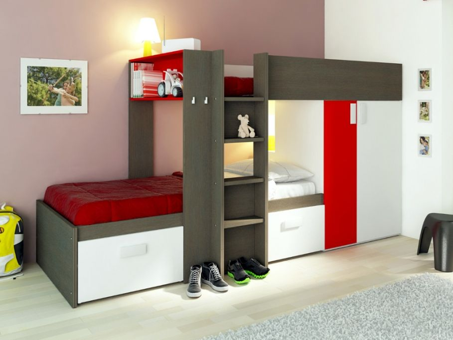 lits superpos s julien 2x90x190cm armoire int gr e taupe et rouge prix promo lit enfant. Black Bedroom Furniture Sets. Home Design Ideas