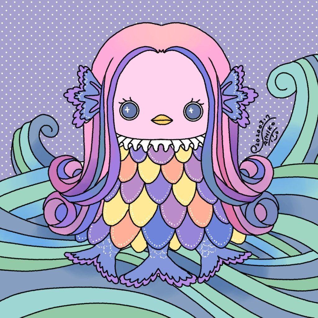 いいかんじなアマビエ塗り絵発見 ゆるいキャラ紹介ブログ 2020 イラスト 塗り絵 刺繍 図案 塗り絵