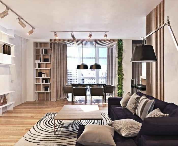 modern einrichten wohnzimmer teppichmuster dunkles sofa essbereich helle w nde gr ne akzente. Black Bedroom Furniture Sets. Home Design Ideas