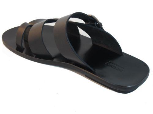 f453ce2a9fb Men s Davinci Italian Leather Push in Toe Strappy Slide Sandal 1852 ...