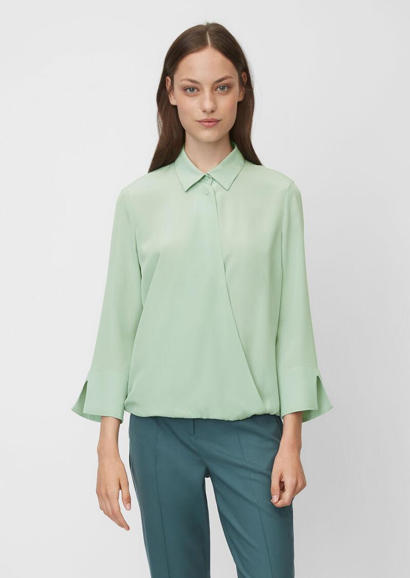 Blouse Wrap Detail Kent Collar S Sage Green Blouse Long Sleeve Blouse Clothes For Women