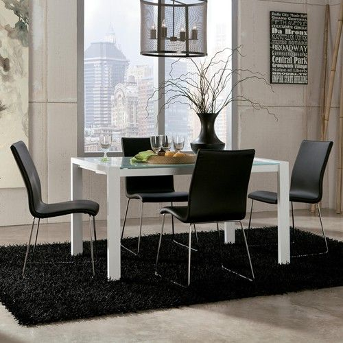 Ashley Furniture Martina 5-Piece Modern Glass Top Extension Table Set with 4 Black Chairs #furniture