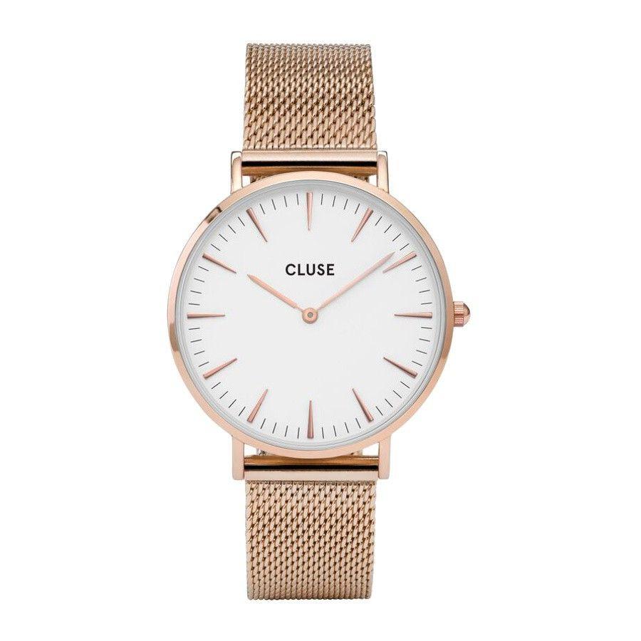 Quickjewels.nl ♥ CLUSE La Boheme Mesh Rose Gold/White horloge CL18112 front €99.95