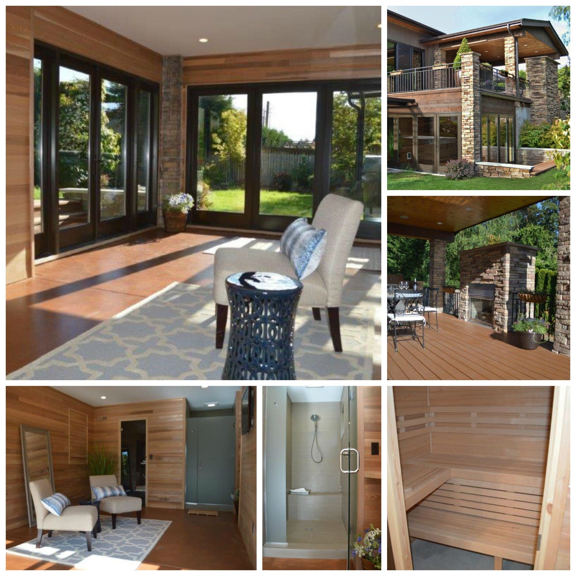 basement hot tub. Modern Yet Warm Sunroom / Spa Home Addition Under A Revitalized Deck. The New Includes Sauna, Shower, Yoga/ Relaxation Space, And Hot Tub Just Basement
