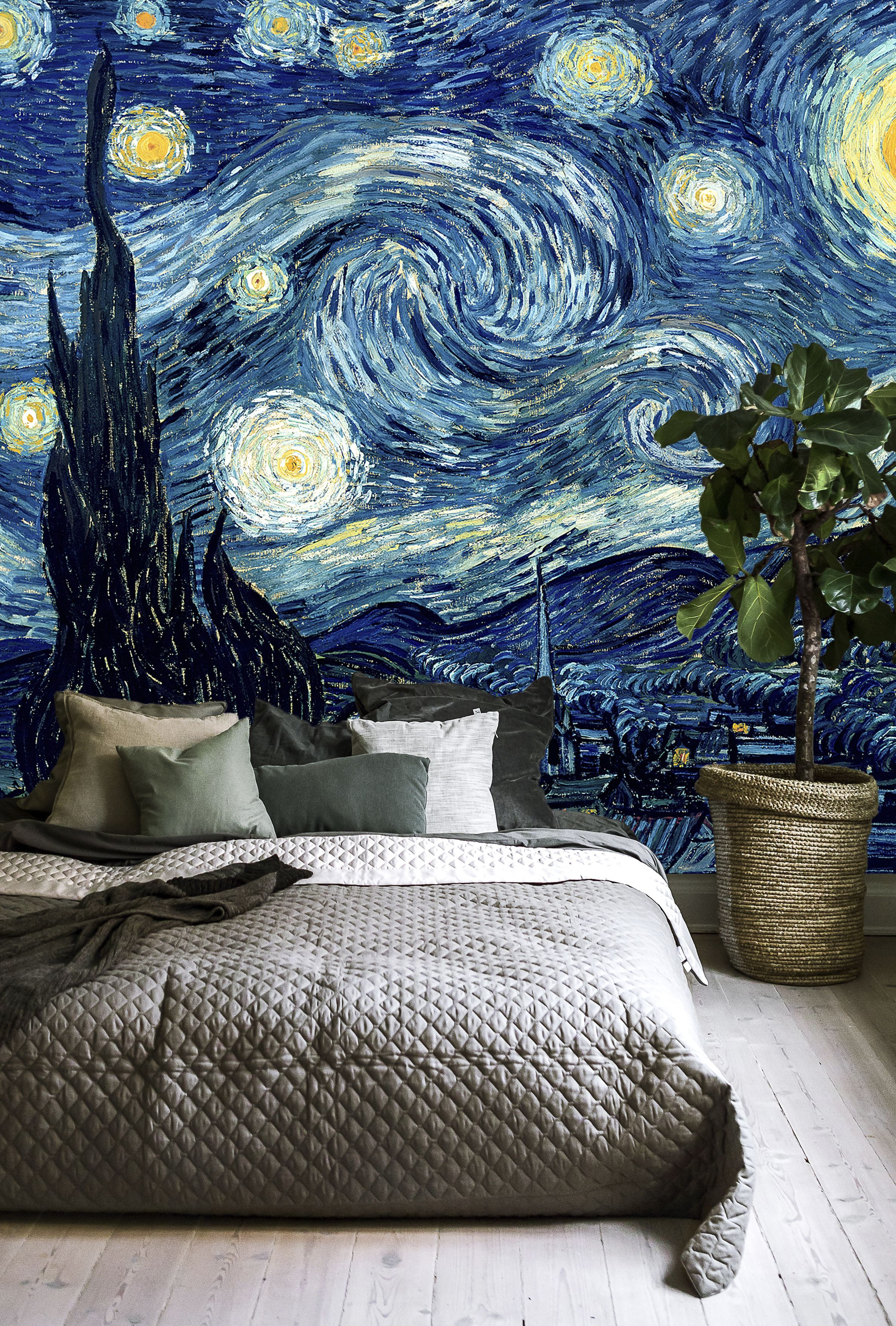 Vincent Van Gogh Starry Night A Wall Mural For Every Room Starry Night Bedroom Starry Night Van Gogh Starry Night Wallpaper