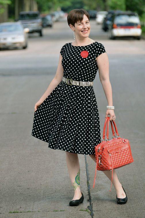 0c40dd0fc8a5 Already Pretty outfit featuring black and white polka dot dress, zebra  belt, Clarks Concert Choir flats, Rebecca Minkoff red studded MAB Mini  handbag, ...