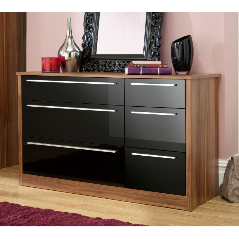 Melbourne Drawer Wide Chest Black Gloss Walnut Effect The - Black gloss chest of drawers
